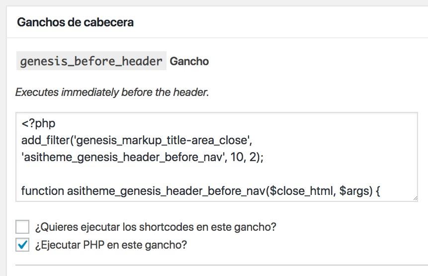 Ganchos de cabecera genesis_before_header Gancho